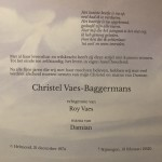 Rouwkaart Christel Vaes – Baggermans