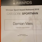 Damian Vaes winnaar Sport Award Helmond 2019